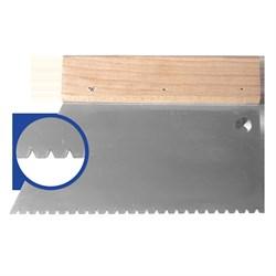 Шпатель с деревянным держателем 180мм, зуб B3 (3,4х3,6х3,2мм) прямая трапеция  Наш инструмент - фото 15522