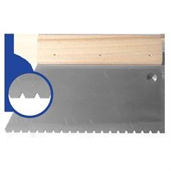 Шпатель с деревянным держателем 180мм, зуб B6 (5х4х3,6мм) прямая трапеция  Наш инструмент - фото 15523