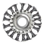 Щетка для болгарки и УШМ 100мм D22  тарелка  крученая проволока, Santool