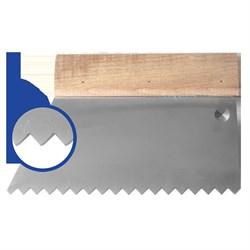Шпатель с деревянным держателем 180мм, зуб S4 (10х5мм) прямая трапеция  Наш инструмент - фото 15519