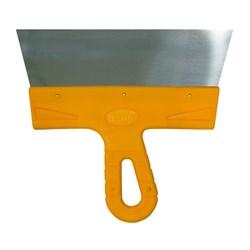 Шпатель 100мм нерж. сталь с пластмассовой желтой ручкой БИБЕР Мастер - фото 19331