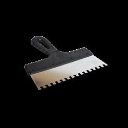 Шпатель зубчатый 250мм зуб 8х8мм, нерж. сталь пластмассовая ручка БИБЕР - фото 20511