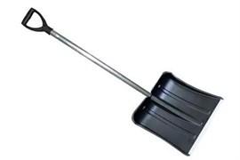 Снеговая лопата МЕТЕЛЬ №1 пластмассовая с ал.планкой 380х365мм,ф32 с д/ч в/с и V-ручкой