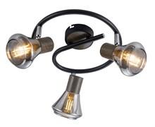 7028-733 Rivoli Настенно-потолочный светильник Pavla WR3 Черный/темное дерево 3хE14 40W (6/108)