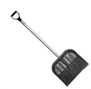 Снеговая лопата МЕТЕЛЬ №2 пластмассовая с оц.планкой  410х360мм,ф32 с д/ч в/с и V-ручкой