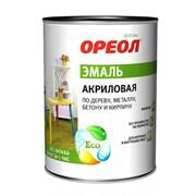 Эмаль акриловая  ОРЕОЛ  глянцевая белая (пластик), 0.9 кг (14шт/уп)