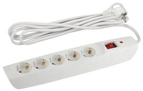Сетевой фильтр Россия SFX-5es-2m-W ЭРА (белый) с/з 10А,с выкл, 5гн,2м